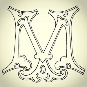Modèle de tatouage monogramme